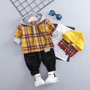 Baby boys clothing sets hooded shirt and pants