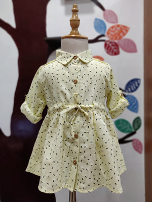 Floral Print Collor Baby Frocks