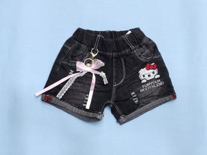 Girls Funky Black Denim Shorts