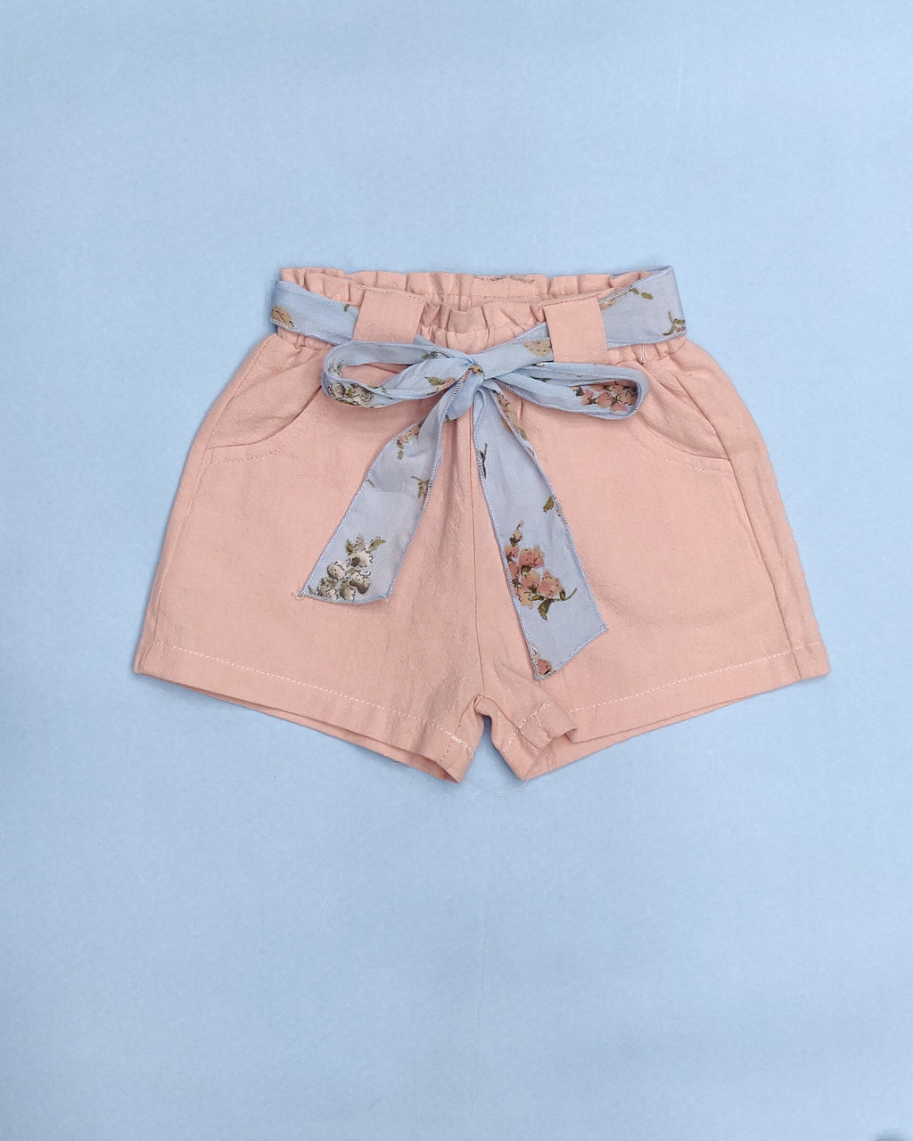 Printed Belt Cotton Girls Shorts
