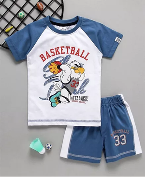 Ollypop Half Sleeves Tee & Shorts Basketball Print