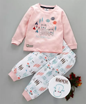 Ollypop Full Sleeves Night Suit Friendly Bear Print