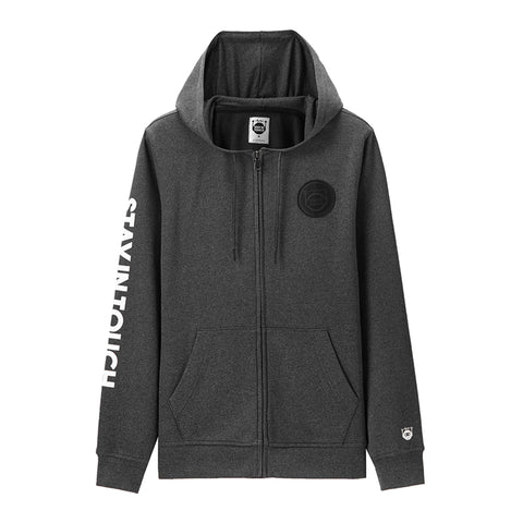 STAY IN TOUCH printed applique hooded sweatshirt