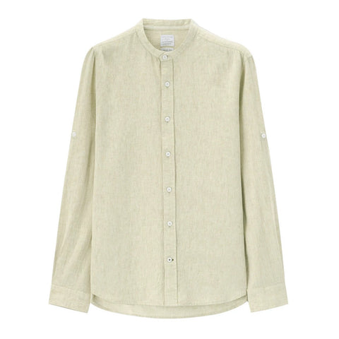 Men Linen-Cotton Mandarin Shirt