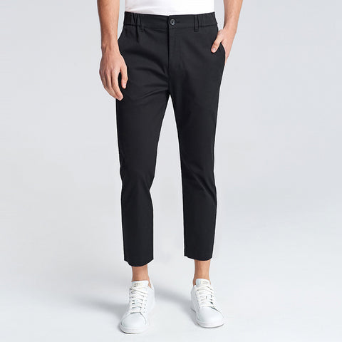 Men Solid Slim Tapered Ankle Length Pants