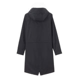 Women Banded-waist hooded long thin jacket