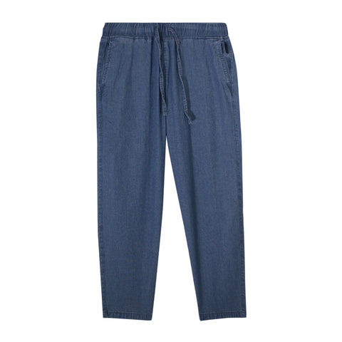 Women Drawstring Calf-Length Denim Pants
