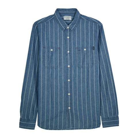Striped Long-Sleeve Denim Shirt