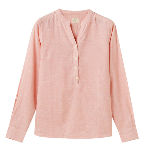 Women Linen-Cotton V-Neck Shirt