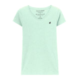 Women Frog Solid V-Neck Basic Tee