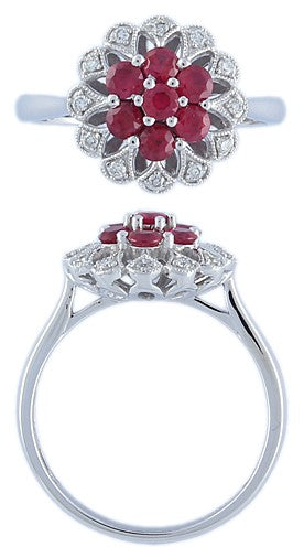 RUBY & DIA CLUSTER 9CT