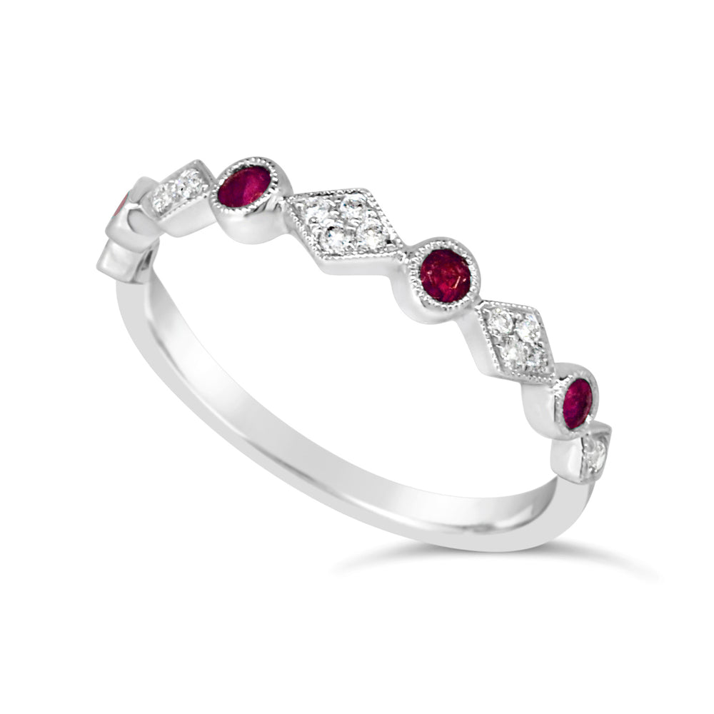WHT GOLD RING 4X RUBY @ .20CT W/14 RD DIA @ .13CT 9CT