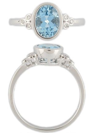 9CT WG RING W/AQUA @ 1.30CT + DIA X6 @ .07CT
