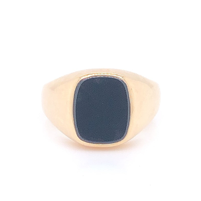 9CT YG 12 X10MM CUSHION FLAT BLACK ONYX GENTS RING