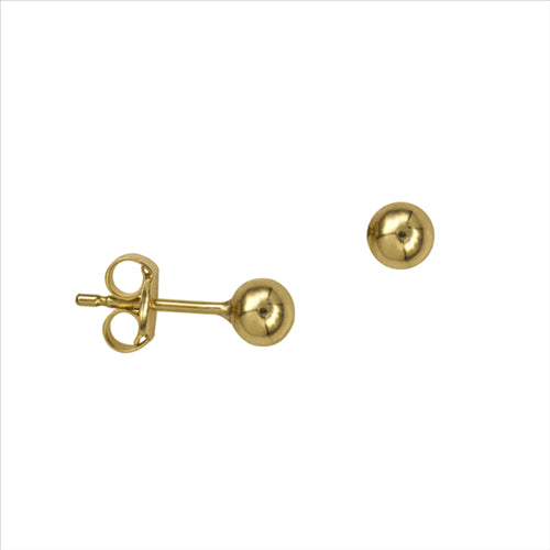 9CT YELLOW GOLD 4MM HEAVY BALL STUDS