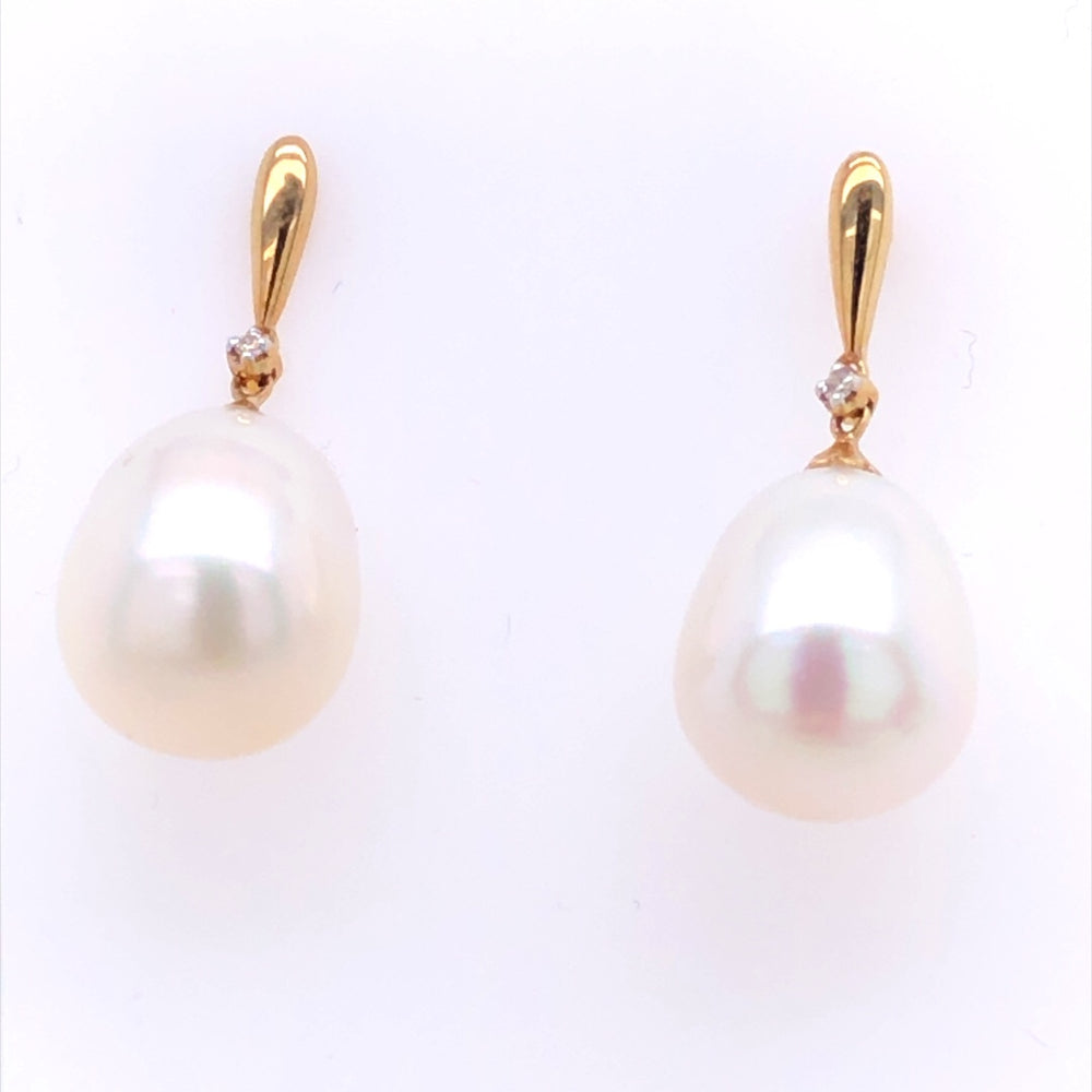 9CT YG STHS-PEARL DROP STUD WDIA 0.2CT