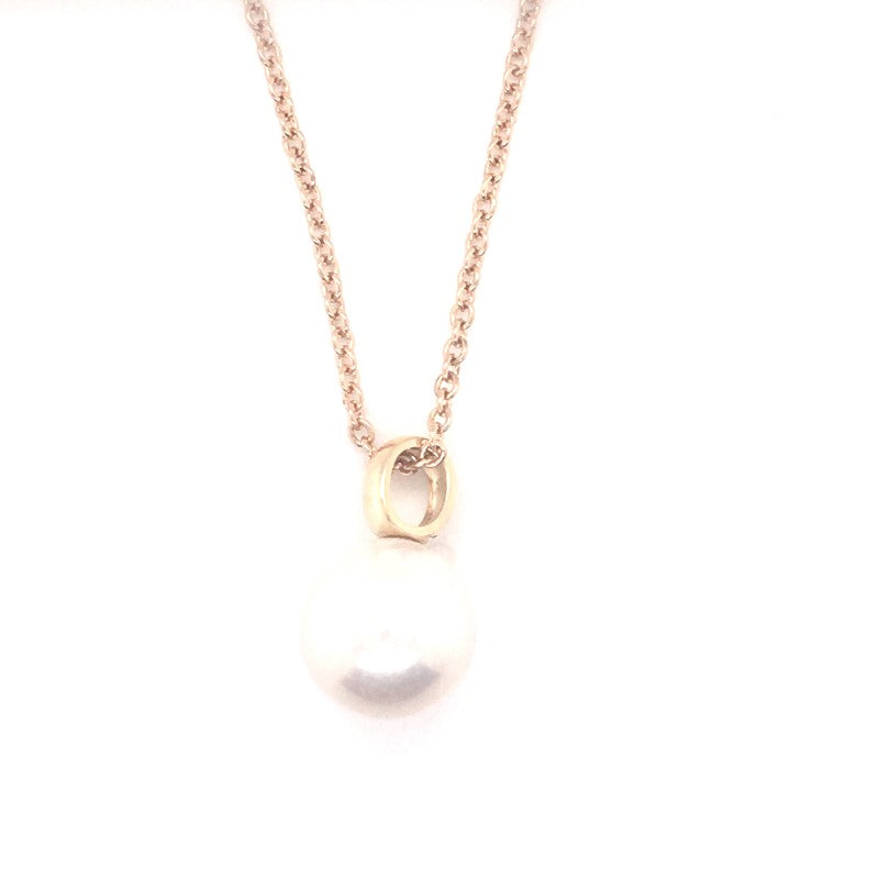 9CT YG EDISON WHITE ROUND 11.5-12MM BAIL PENDANT