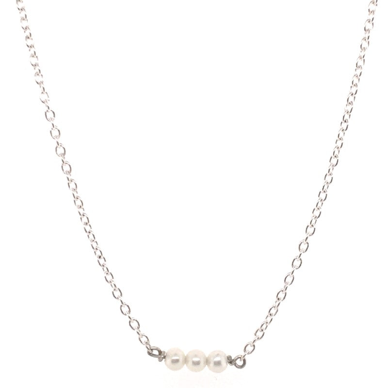 SS 3X FW 3-3.5MM PEARL SS NECKLACE 43+4CM