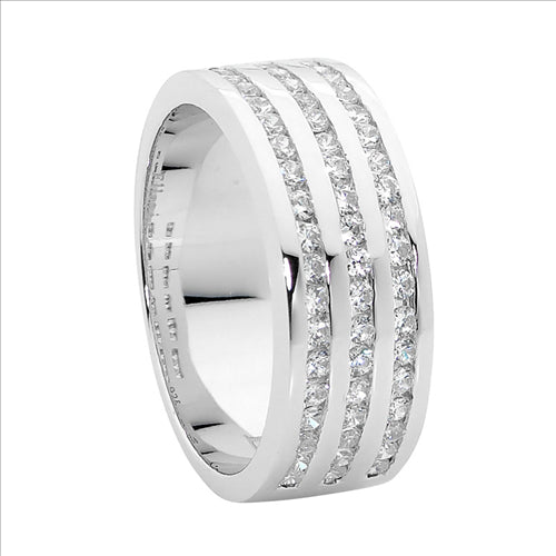 STERLING SILVER WH CUBIC ZIRCONIA 3 ROW CHANNEL SET RING