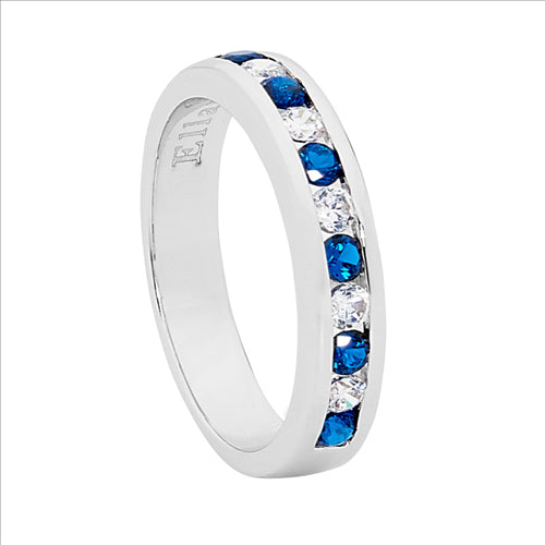 SS DARK BLUE & WH ROUND CZ CHANNEL SET RING - S7