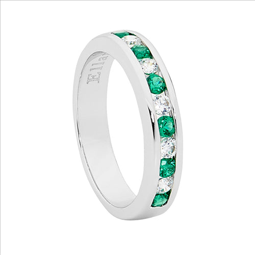 STERLING SILVER GREEN & WHITE ROUND DIAL CUBIC ZIRCONIA CHANNEL SET RING