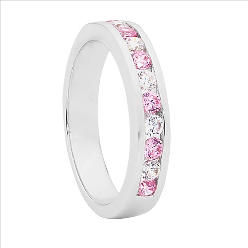 STERLING SILVER PINK & WHITE ROUND DIAL CUBIC ZIRCONIA CHANNEL SET RING