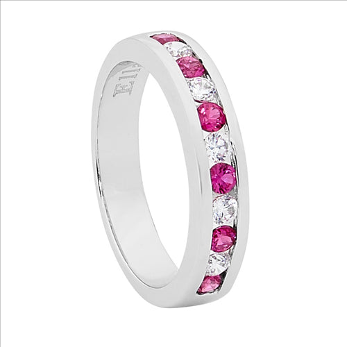 SS RED & WH ROUND CZ CHANNEL SET RING - S7