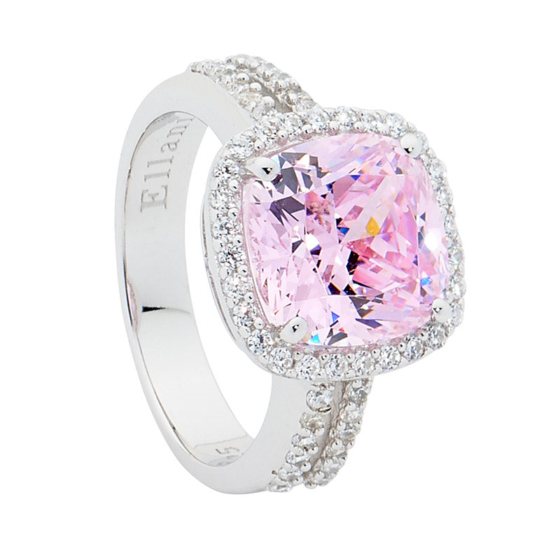 STERLING SILVER PINK CUSHION CZ/WHT CUBIC ZIRCONIA SURROUND SPLIT BAND
