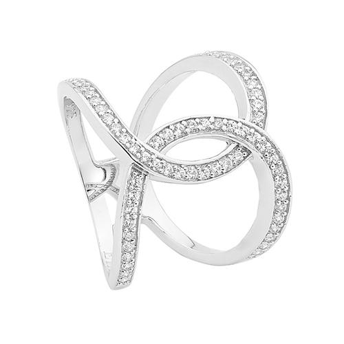 STERLING SILVER SPLIT BAND LINKED CIRCLE CUBIC ZIRCONIA RING