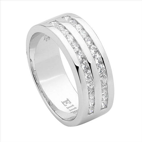 WH CUBIC ZIRCONIA 2 ROW CHANNEL SET RING