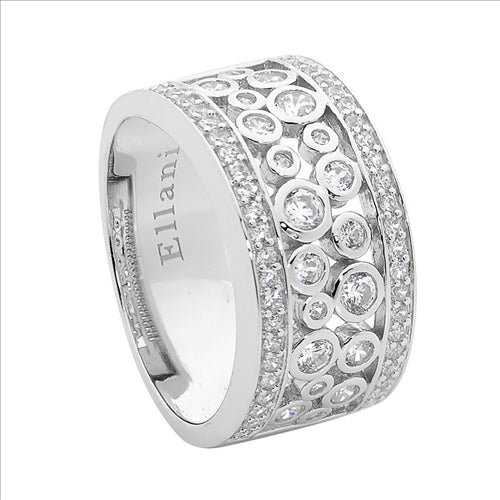 SS WIDE BAND RING W/ WH CZ BEZEL SET CLUSTER- S8