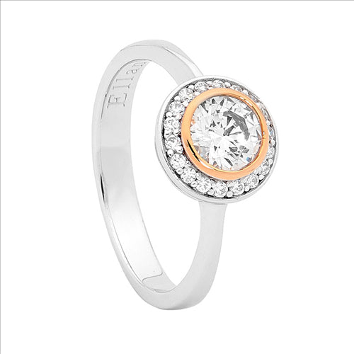 SS ROUND WH CZ W/ ROSE GOLD PLATING & WH CZ SURROUND RING - RRP $119 - S7