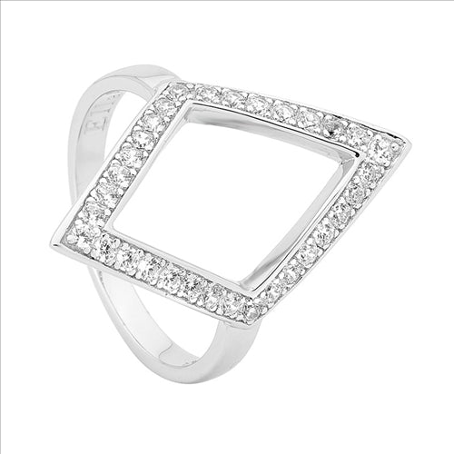 WH CUBIC ZIRCONIA OPEN BAND DIAMOND SHAPE RING