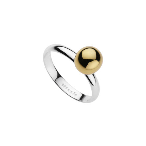 3MM STERLING SILVER BAND WITH YELLOW GOLD PLATED 10MM BALL