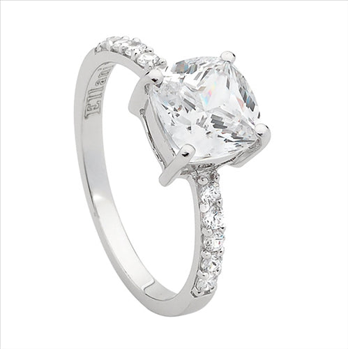STERLING SILVER PRINCESS CUBIC ZIRCONIA SOLITAIRE & CUBIC ZIRCONIA BAND