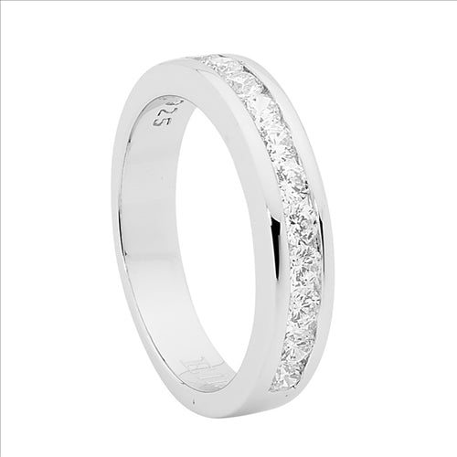 STERLING SILVER CUBIC ZIRCONIA ROUND CHANNEL SET RING