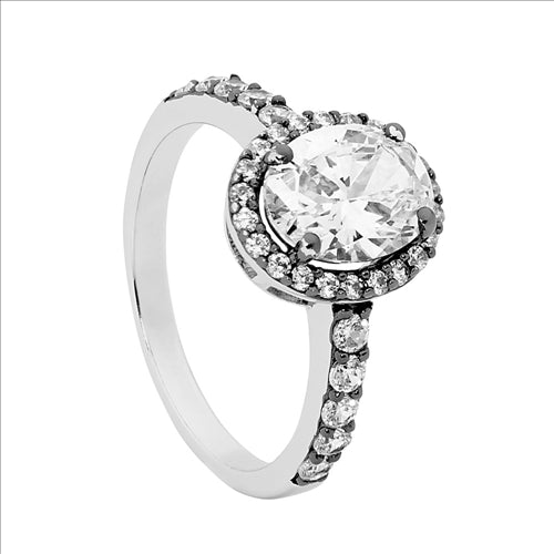 STERLING SILVER OVAL /CZ SURROUND & BK RHODIUM PLATING RING