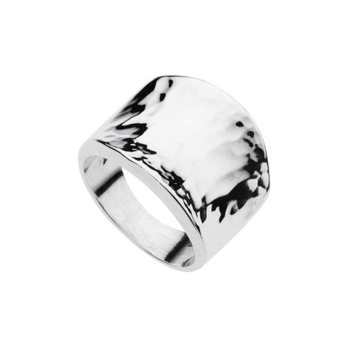 16.5MM BEATEN SILVER DIPPED CONCAVE RING SMALL