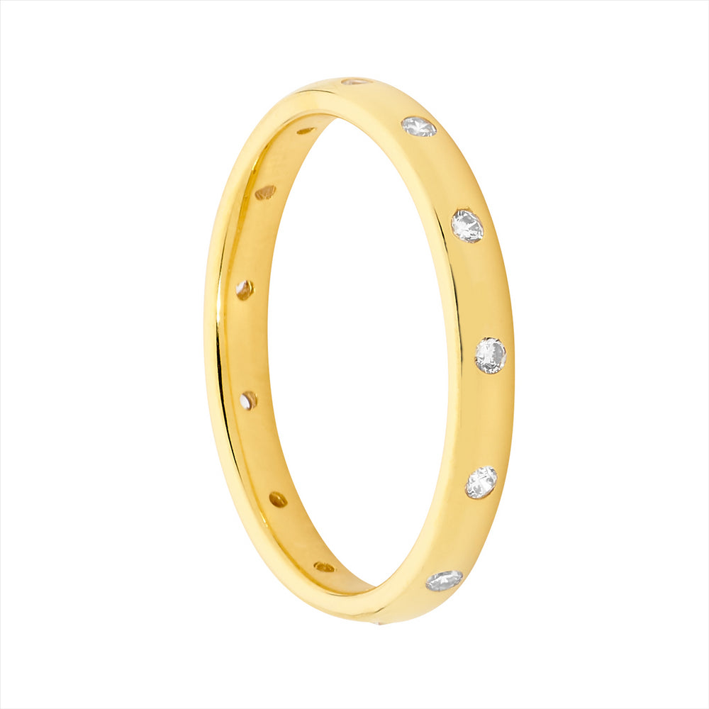 SS WH CZ HAMMER SET ETERNITY RING W/ GOLD PLATING - S8