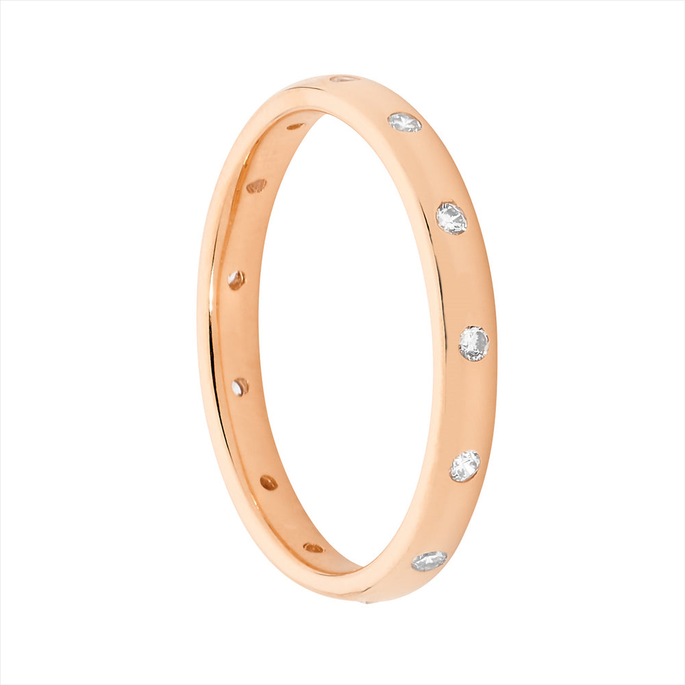 SS WH CZ HAMMER SET ETERNITY RING W/ ROSE GOLD PLATING - RRP $89 - S7