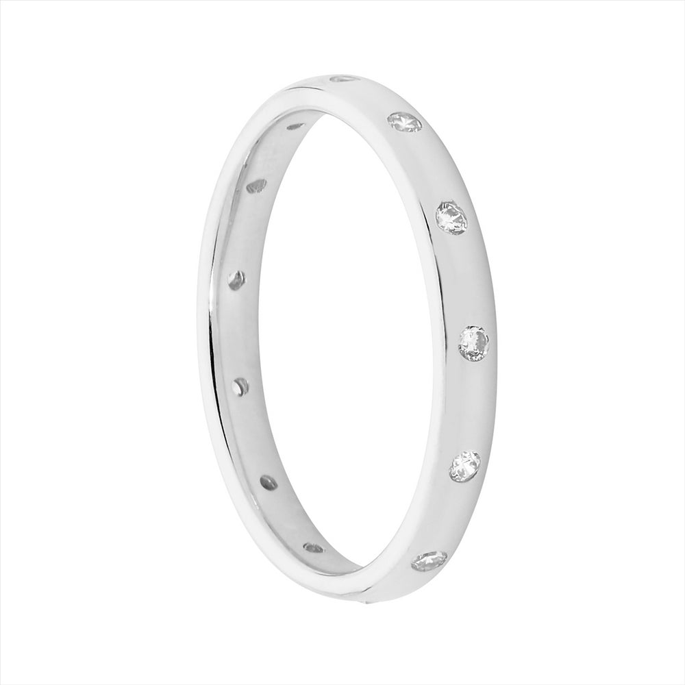 SS WH CZ HAMMER SET ETERNITY RING - S7