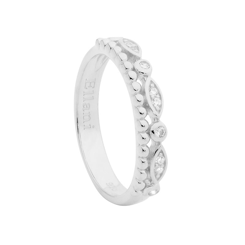 SS DOUBLE ROW RING, WH CZ & BUBBLE BAND - RRP $79 - 2XS8, 1XS9