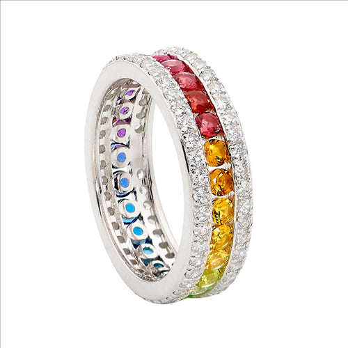 SS MULTI COLOUR CZ CHANEL SET RING W/ WH CZ SURROUND - S8