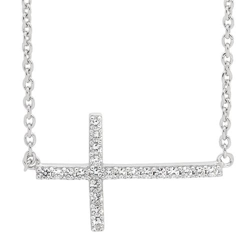 STERLING SILVER WH CUBIC ZIRCONIA CROSS PENDANT - ATTACHED CHAIN