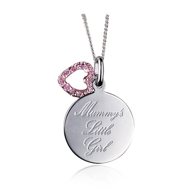 MUMMYS LITTLE GIRL' PINK CZ PENDANT / HEART ONLY