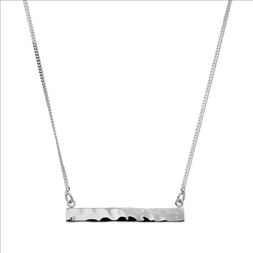 4X33MM BEATEN STERLING SILVER BAR ON 40CM CHAIN W/6CM EXT