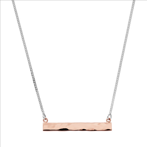 4X33MM BEATEN STERLING SILVER ROSE GOLD PLATE BAR ON 40CM CHAIN W/6CM EXT