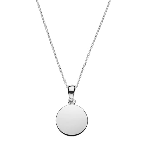 12MM STERLING SILVER DISC PENDANT ON 0.9MM STERLING SILVER BELCHER TRAIN 40CM +5CM EXT