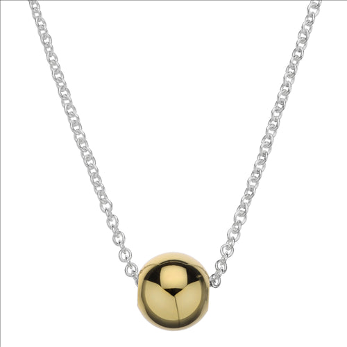 8MM YELLOW GOLD PLATED SILVER BALL SLIDER & CHAIN