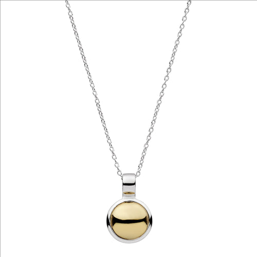 12X18MM BRASS & STERLING SILVER DISC PENDANT W/BALE ON C0120-42CM+5CM STERLING SILVER CHAIN